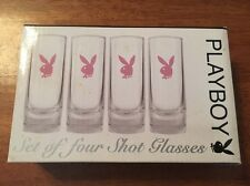 Playboy Shot Glasses Set Of Four Pink Bunny Official Glass Kitchen Bar Party