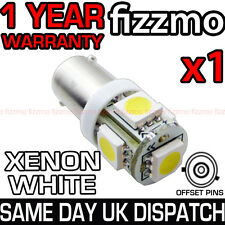 XENON 5 SMD LED 433 433c 434 BAX9S H6W BAYONET OFFSET LIGHT BULB 6000k WHITE