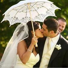 Chic White Lace Umbrella Lady Handmade Parasol Party Wedding Bridal Bride Decor