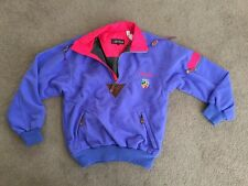 Vtg 80s NEVICA Mens small Color Block SKI Fleece Pullover Neon JACKET Snow Coat