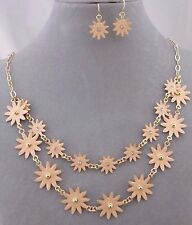Layered Peach Flower Starburst Necklace Set Crystal Gold Fashion Jewelry New