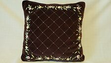 Throw Pillow - plum with floral trim