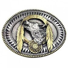 Buckle Heulender Wolf, 24 ct. Gold, Indian, Gürtelschnalle