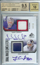 2010-11 SP HENRIK LUNDQVIST AUTO 14/15 BGS 9.5 DUAL GAME USED JERSEY RANGERS