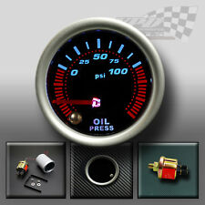 "OIL PRESSURE GAUGE 52mm 2"" SMOKED FACE 7 COLOUR DASH DISPLAY GAUGE MOUNT POD"