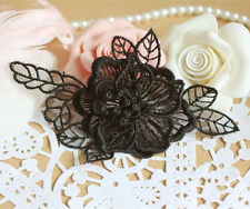 Bridal Lace Applique Black Wedding Motif Floral Butterfly Sewing on Trim 1 Pair
