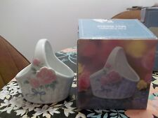 Jay Import Company    Fine Porcelain Mini Basket  (Flower on front)    MIB