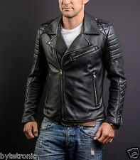Mens Black Biker Handmade Boda Sheep Skins Quilted Real Leather Jacket