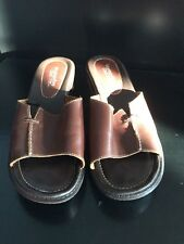MONTEGO BAY CLUB Brown Leather Wedge Heels Slides Womens Sandals Shoes Size 10
