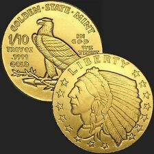 1/10th oz .999 Gold Bu Incuse Indian Round Usa Made Commemorative Bullion Coin