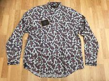 Camisa para hombre Merc London Paisley en gris ceniza del casco XXL Slim Fit = XL-XXL
