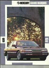 MERCURY LINCOLN  GRAND MARQUIS USA CAR OVERSIZED SALES BROCHURE 1992