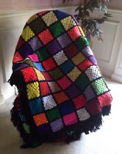 "Beautiful Handmade Granny Square Afghan with Fringe 125"" x 107"" EUC!"