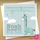 Personalised Handmade Card For New Baby 'Giraffe' Granddaughter, Grandson