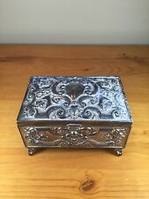 Vintage Jewelry Box Decorated Necklaces Silver Tone