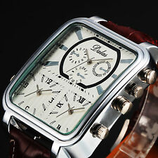 Fashion Mens Oversized Big Rectangle 3 Time Zone Brown Leather Sport Watch
