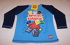 Lego Boys Brick Dance Blue Navy Printed Long Sleeve T Shirt Size 6 New