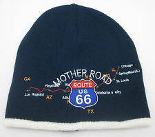 ROUTE 66 Skull Cap Embroidered Knit Beanie Hat US 66 Mother Road Navy Blue White