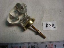 bouton de tiroir ancien verre et laiton hexagonal (réf D82)