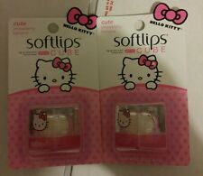 (2) HELLO KITTY SOFTLIPS CUBE CUTE STRAWBERRY BANANA SPF15 Lip Sunscreen Balm