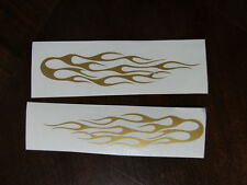 GOLD Biker decal sticker lot x 2 FLAMES Motorcycle Bike Bicycle Go Kart