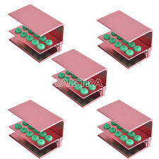 5 PCS Dental Block Holder with Cover 10 Hole For High & Low Speed Bur #Pink