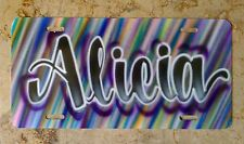 Purple Scribble Airbrush Custom License Plate Personalized w/ Your Name Car Tag
