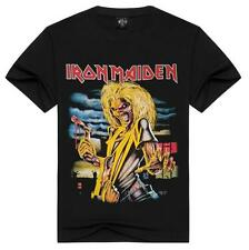 Iron Maiden Rock Band 100% Cotton Men's 3D Print Short Sleeve T-Shirts Size S