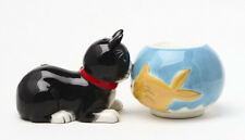LITTLE CAT AND FISH TANK CERAMIC SALT & PEPPER SHAKERS SET.THEY KISS !! LOVELY!