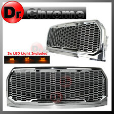15-16 2017 Ford F150 Chrome ABS Amber LED Raptor Style Mesh Packaged Grille Gril