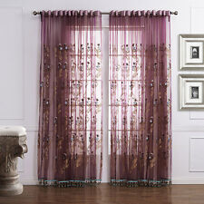 3QMart 2 Panels Embroidered Sheer Voile Grommet Window Curtain Drapes Eyelet Top