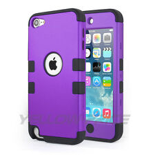 Newest Apple iPod Touch 5th 6th Generation Case Fashion 3 layer Cover -Purple