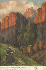 Musik, Minnesänger vor singt vor Burg, Mann mit Harfe im Gebirge, Ak von 1911