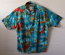 "EASY retro boat surf angel fish palm tree Hawaiian shirt UK L US M 44"" 112 cm H1"