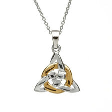 New Irish Celtic Trinity Knot Silver & Gold Pendant Necklace Celtic Jewellery