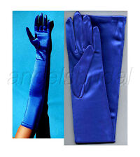"23"" ROYAL BLUE STRETCH SATIN BRIDAL WEDDING EVENING GOWN FORMAL OPERA GLOVES NEW"