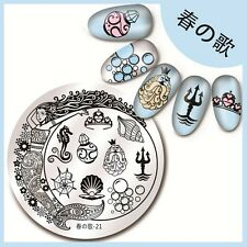 Nagel Stamping Schablone Nail Art Stamp Plate Mermaid Conch Harunouta-21
