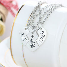 3P Fashion Family Heart Big Middle Little Sister Silver Plated Pendant Necklaces