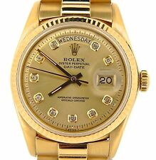 Men Rolex Solid 18k Yellow Gold Day Date President w/Champagne Diamond Dial 1803