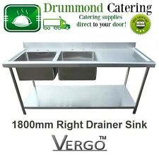 New Commercial Catering Kitchen Stainless Steel Sink 1800mm Double Bowl