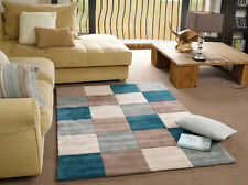"""Modern Quality Thick Squared Design Teal Duckegg Rug 80 x 150 cm (2'6""""x5'0"""")"""