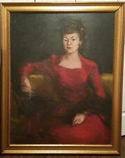 Stunning Oil Painting Sarah Woman in Red Dress by Artist Harriet Rynerson 1948