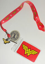 DC COMICS Wonder Woman LOGO LANYARD & ID Badge Tag Key Card Holder + RUBBER TAG