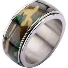 INOX Men's stainless steel Camo army spinner ring Silver Size 10 (FR1911-10)