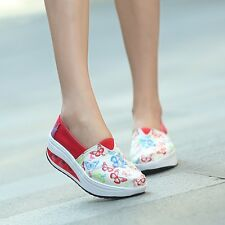 Fashion Women High Top Casual Canvas Sneaker Breathable Running Platform Shoes