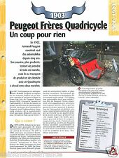Peugeot Frères Quadricycle 1 Cyl. 1903 France Car Auto Retro FICHE FRANCE