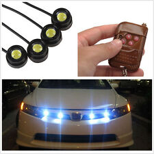 Waterproof White 4in1 Hawkeye LED Car SUV Strobe Flash Lights DRL Fog Lamps 12V