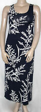 NWT Sunny Leigh Sleeveless Vine Print Scoop Neck Maxi Dress NAVY/CREAM/SMALL
