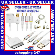 RCA Composite Audio Video to TV USB Charger Cable for Apple iPhone 4 4S 3GS A056