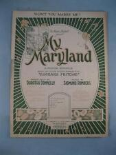 Wont You Marry Me Sheet Music Vintage 1927 My Maryland Sigmund Romberg Voice (O)